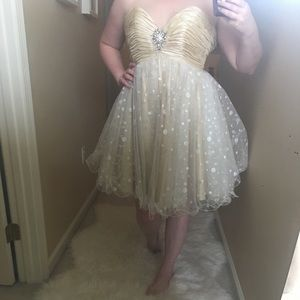 Champagne and Polka Dot Blush Prom Dress